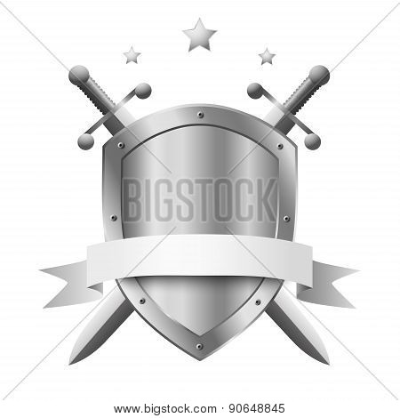 Coat Of Arms Metal Shield With Two Crossed Knight Swords And Stars Above Isolated On White