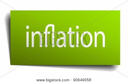 Inflation Green Paper Sign Isolated On White