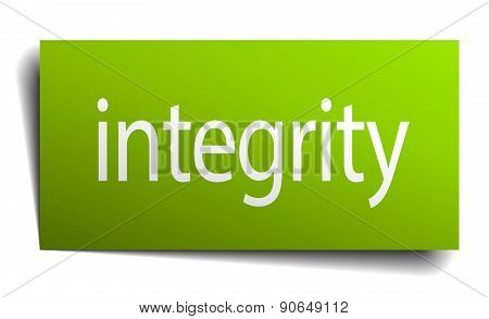 Integrity Green Paper Sign Isolated On White