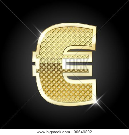 Vector metal gold letter Euro sign