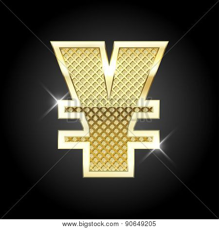 Vector metal gold letter Yuan (Yen) sign