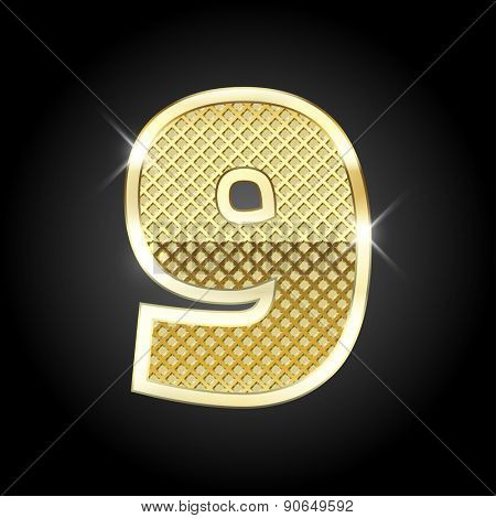 Vector metal gold letter of number nine (9)