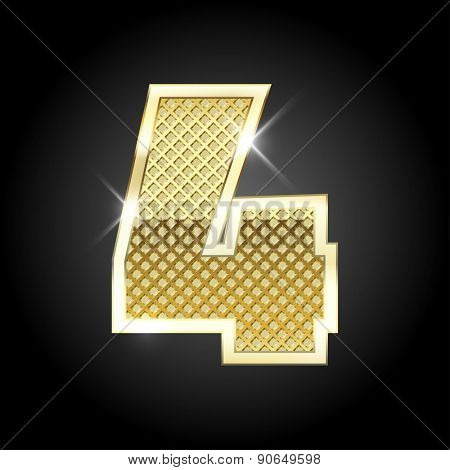 Vector metal gold letter of number four (4)