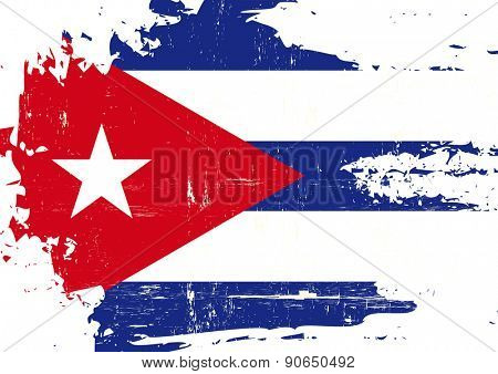 Scratched Cuban Flag. A cuban flag with a grunge texture