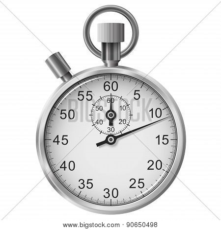 Vector Simple Classic Stop Watch Isolated On White Background