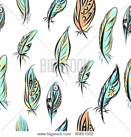 Ethnic seamless pattern with Feathers.Seamless aztec colorful feathers illustration background patte