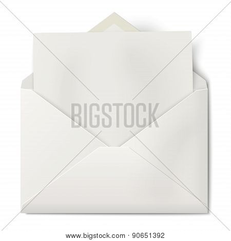 White Opened Envelope With Sheet Of Paper Inside Isolated On White Background