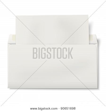 Opened Dl Envelope With Sheet Of Paper Inside Isolated On White Background