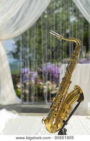 Gold Saxophone In Festive Wedding Ceremony Decor