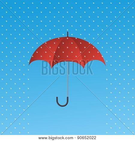 Opened Red Umbrella Protecting From Rain. Protection Symbol.