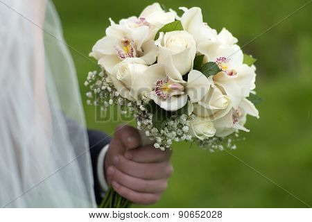 Fiance Holding A Delicate Bouquet