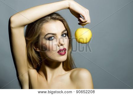 Tempting Sexy Girl With Apple