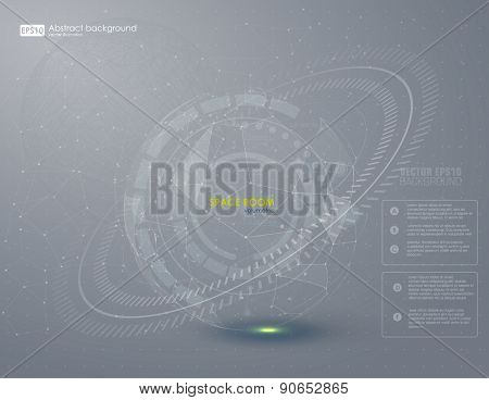 Abstract HUD grey background. Vector.
