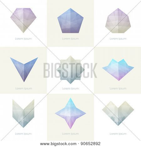 Premium colorful collection. Set of trendy soft mesh facet crystal gem geometric logo icons and abstract shapes for business visual identity- triangle, polygons and rectangular designs. Vector diamond