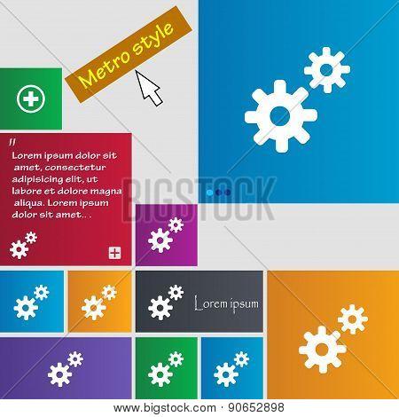 Cog Settings,  Cogwheel Gear Mechanism Icon Sign. Metro Style Buttons. Modern Interface Website Butt