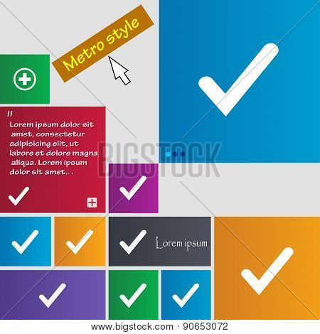 Check Mark, Tik Icon Sign. Metro Style Buttons. Modern Interface Website Buttons With Cursor Pointer