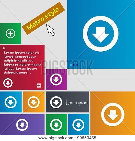 Arrow Down, Download, Load, Backup Icon Sign. Metro Style Buttons. Modern Interface Website Buttons