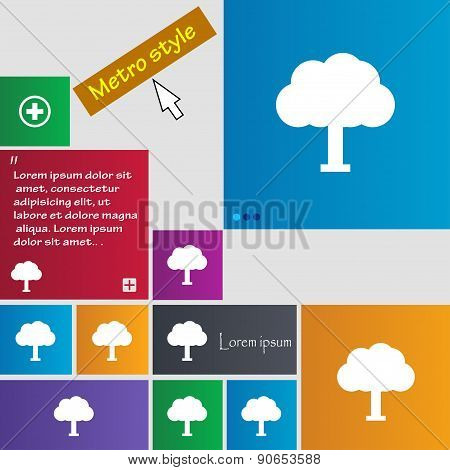 Tree, Forest Icon Sign. Metro Style Buttons. Modern Interface Website Buttons With Cursor Pointer. V