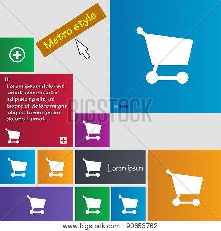 Shopping Basket Icon Sign. Metro Style Buttons. Modern Interface Website Buttons With Cursor Pointer