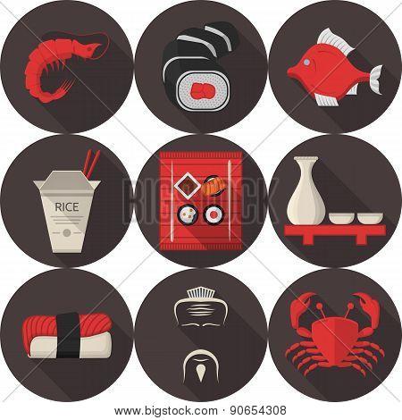 Flat vector icons for japanese restaurant