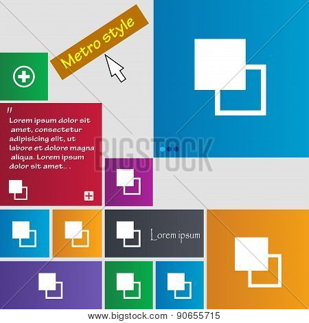 Active Color Toolbar Icon Sign. Metro Style Buttons. Modern Interface Website Buttons With Cursor Po