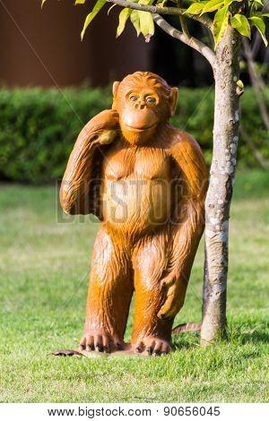 Monkey Statue In Lawn