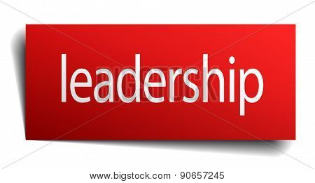 Leadership Red Square Isolated Paper Sign On White