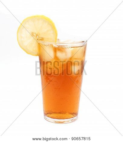 Ice lemon tea isolated on white background