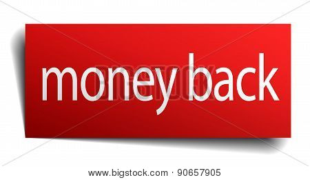 Money Back Red Square Isolated Paper Sign On White