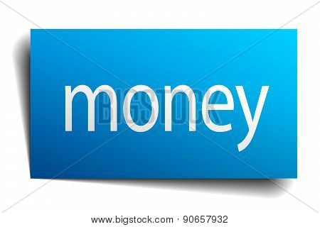 Money Blue Paper Sign On White Background