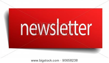 Newsletter Red Square Isolated Paper Sign On White