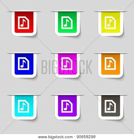 Audio, Mp3 File Icon Sign. Set Of Multicolored Modern Labels For Your Design. Vector