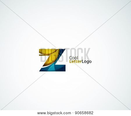 Vector Z alphabet letter logo. Created with transparent colorful overlapping geometric shapes, waves and flowing elements