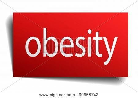 Obesity Red Square Isolated Paper Sign On White