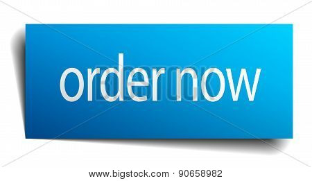 Order Now Blue Paper Sign On White Background