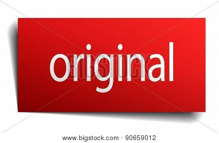 Original Red Square Isolated Paper Sign On White