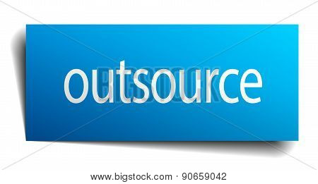 Outsource Blue Paper Sign On White Background