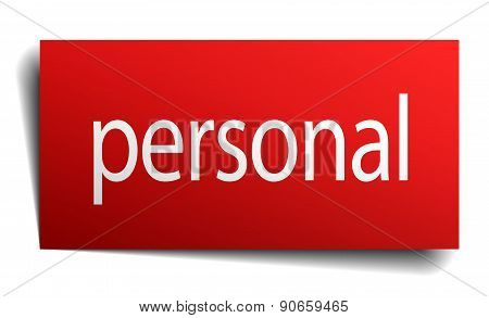 Personal Red Square Isolated Paper Sign On White