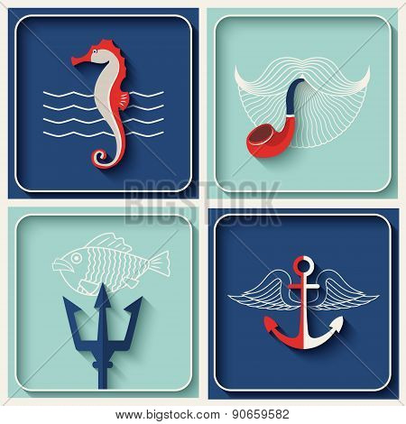 Vector marine theme icons