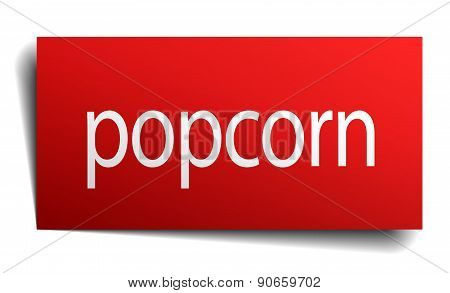 Popcorn Red Paper Sign On White Background