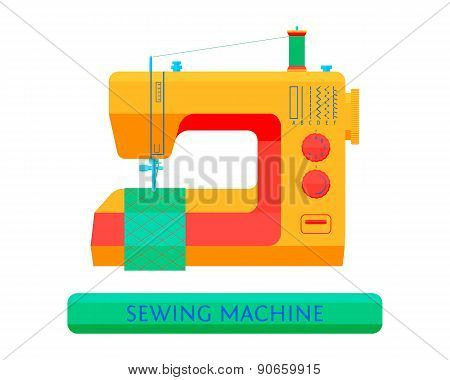Flat vector illustration. Sewing machine on a white background.