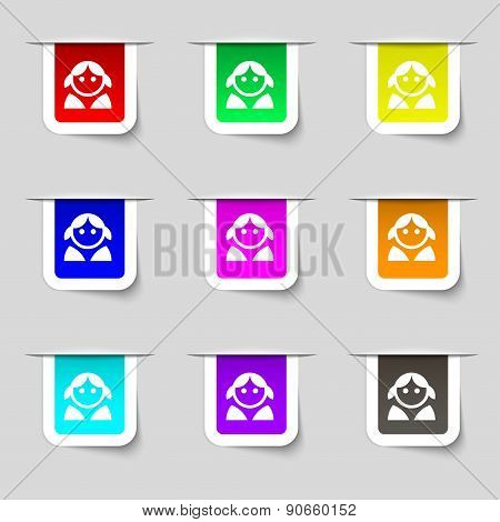 Female, Woman Human, Women Toilet, User, Login Icon Sign. Set Of Multicolored Modern Labels For Your