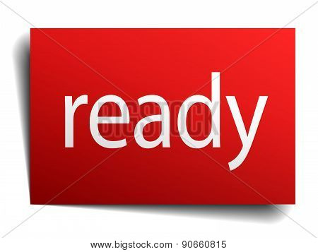 Ready Red Paper Sign On White Background