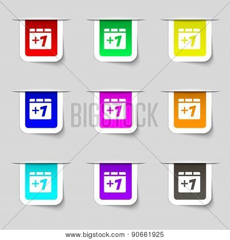 Plus One, Add One Icon Sign. Set Of Multicolored Modern Labels For Your Design. Vector