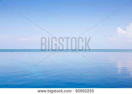 Empty Blue Ocean And Blue Sky : View From Infinity Pool