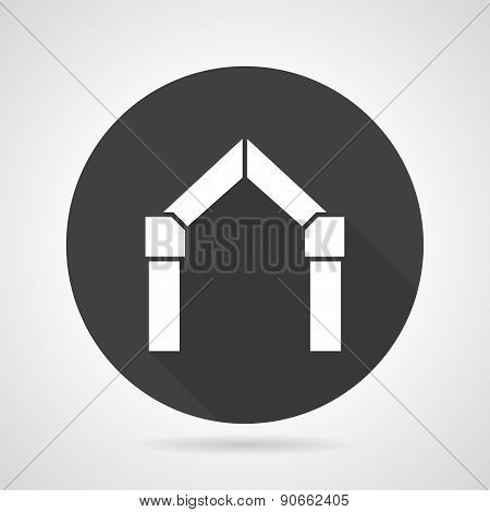 Arch gateway black round vector icon