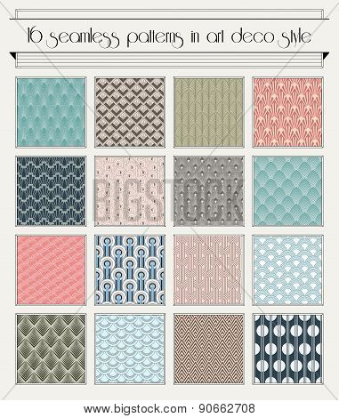 Art deco semaless pattern set