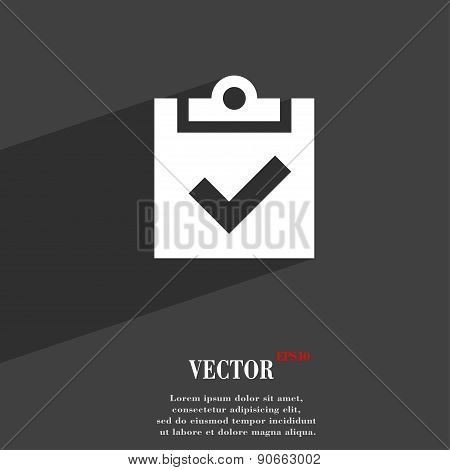Check Mark, Tik Icon Symbol Flat Modern Web Design With Long Shadow And Space For Your Text. Vector