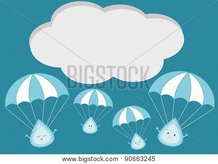 cute raindrop with parachute cartoon illustration