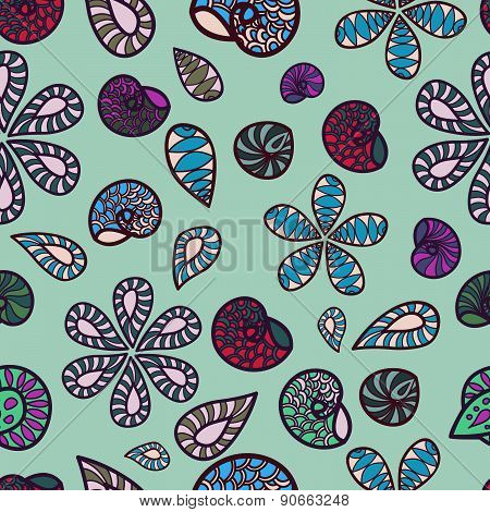 Seamless Colorful Texture With Bright Elements And Shells . Fabric Pattern